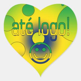 Até Logo! Brazil Flag Colors Pop Art Heart Sticker