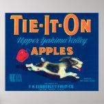 Átelo en la etiqueta de Apple (azul) - Tieton, WA Poster