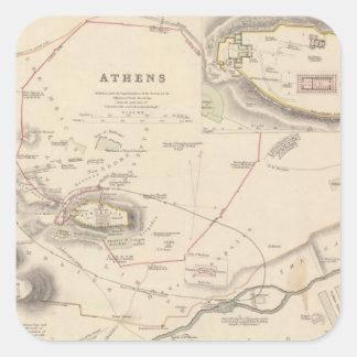 Atenas, acrópolis pegatina cuadrada