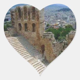 Atenas Grecia el Colosseum Calcomania De Corazon