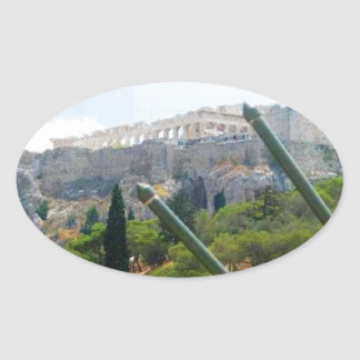 Atenas Grecia Pegatina De Oval Personalizadas