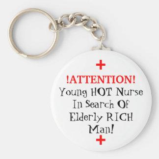 ¡! ¡ATENCIÓN! , Enfermera CALIENTE joven en busca  Llavero Redondo Tipo Pin