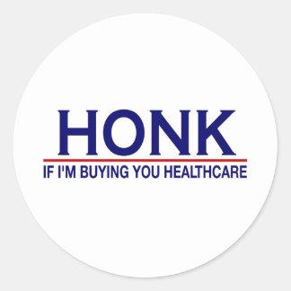 Atención sanitaria del bocinazo (Obamacare) Pegatina Redonda