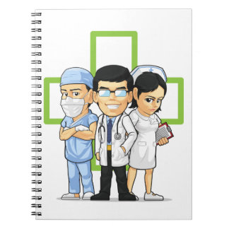Atención sanitaria o personal médico - doctor y en libros de apuntes