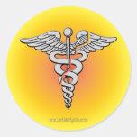 Atención sanitaria pegatina redonda