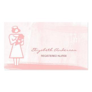 Atención sanitaria rosada femenina de la acuarela tarjetas de visita