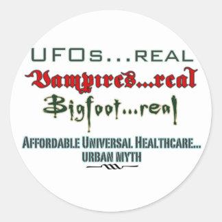 Atención sanitaria universal pegatina redonda