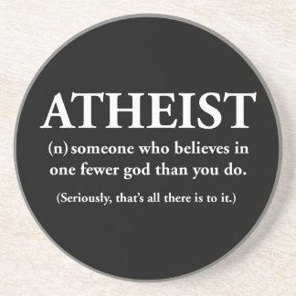ateo: alguien que cree en uno menos a dios posavaso para bebida