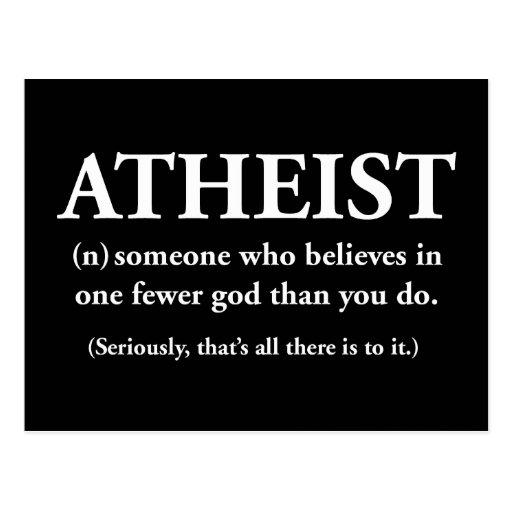 ateo: alguien que cree en uno menos a dios tarjetas postales