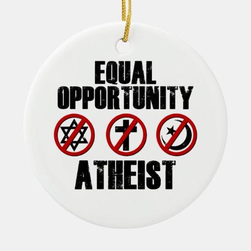 Ateo de la igualdad de oportunidades adorno navideño redondo de cerámica