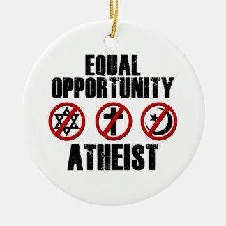 Ateo de la igualdad de oportunidades adorno redondo de cerámica
