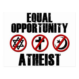 Ateo de la igualdad de oportunidades tarjetas postales