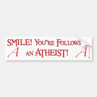 Ateo de la sonrisa etiqueta de parachoque
