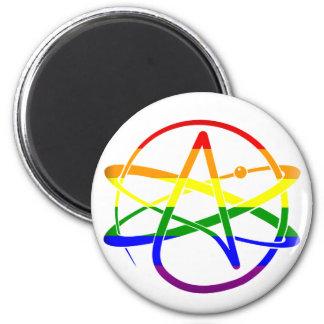 Ateo del arco iris imán redondo 5 cm