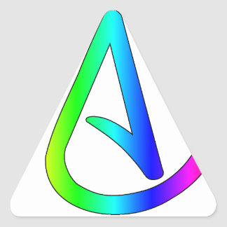 Ateo del arco iris pegatina triangular