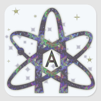 Ateo en pegatinas del espacio exterior pegatina cuadradas