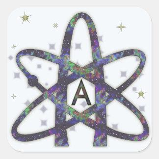 Ateo en pegatinas del espacio exterior pegatina cuadrada