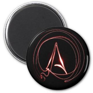 Ateo en rojo imán redondo 5 cm