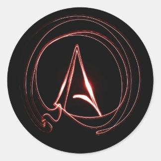 Ateo en rojo pegatina redonda