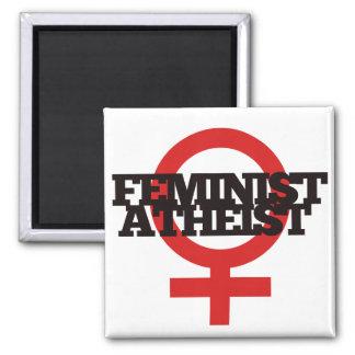 Ateo feminista imán cuadrado