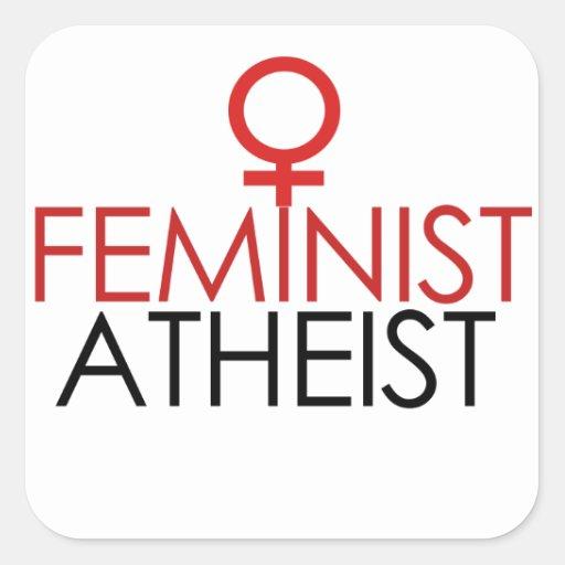Ateo feminista pegatina cuadrada