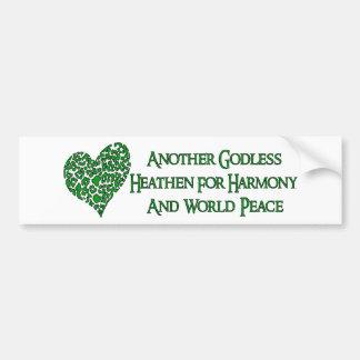 Ateo para la paz de mundo pegatina de parachoque