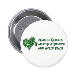 Ateo para la paz de mundo pin redondo de 2 pulgadas