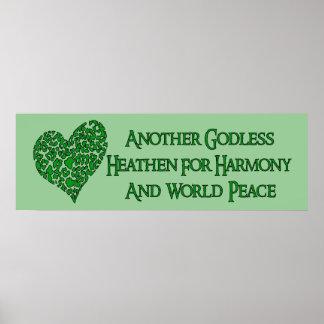 Ateo para la paz de mundo póster
