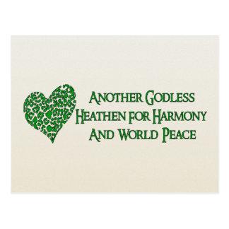 Ateo para la paz de mundo tarjetas postales