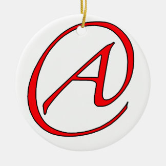 Ateo un rojo en el ornamento blanco adorno navideño redondo de cerámica