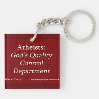 Ateos: Departamento del control de calidad de dios Llavero Cuadrado Acrílico A Doble Cara