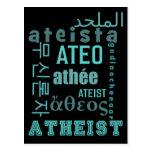 Ateos globales tarjeta postal