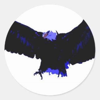 Aterrizaje americano de Eagle calvo Pegatina Redonda