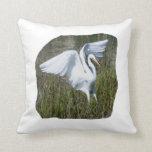 Aterrizaje blanco del Egret en pantano Cojines