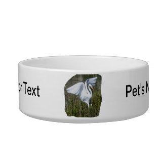 Aterrizaje blanco del Egret en pantano Tazón Para Gato