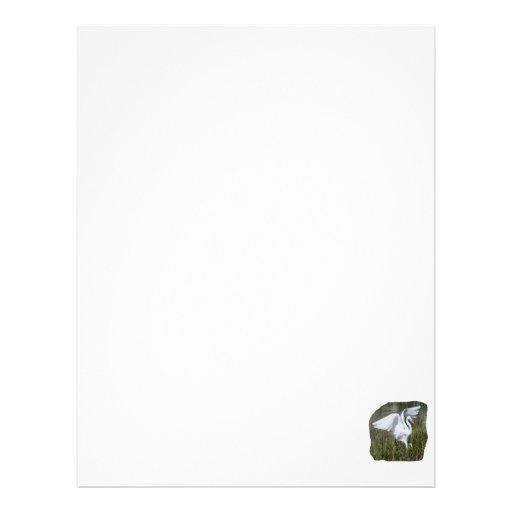 Aterrizaje blanco del Egret en pantano Membretes Personalizados