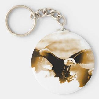 Aterrizaje de Eagle calvo Llavero Redondo Tipo Pin