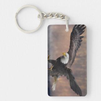 Aterrizaje de Eagle calvo Llavero Rectangular Acrílico A Doble Cara