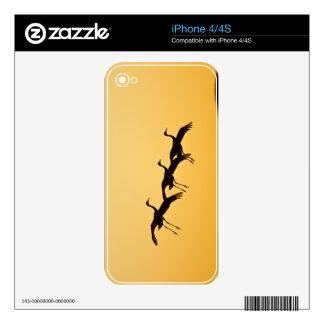 Aterrizaje de la grúa de Sandhill en la puesta del Skin Para El iPhone 4S