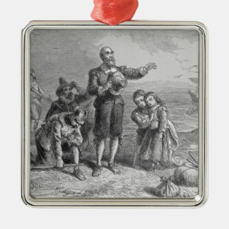 Aterrizaje de los peregrinos, 1620 adorno navideño cuadrado de metal