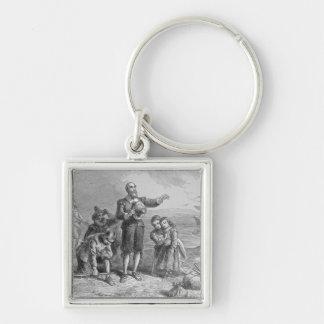 Aterrizaje de los peregrinos, 1620 llavero cuadrado plateado