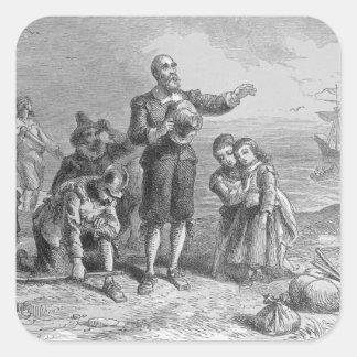 Aterrizaje de los peregrinos, 1620 pegatina cuadrada
