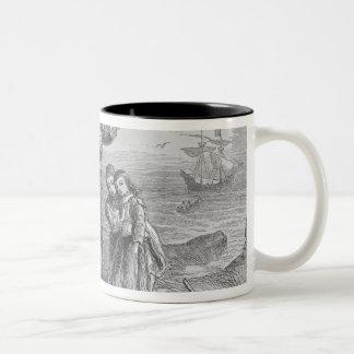 Aterrizaje de los peregrinos, 1620 taza de dos tonos