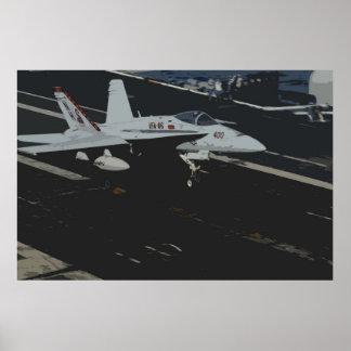 Aterrizaje de portador del avispón F18 Póster