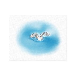 Aterrizaje del cisne en arte de la lona del agua lienzo envuelto para galerias