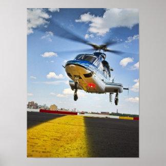 Aterrizaje del helicóptero en NYC Póster