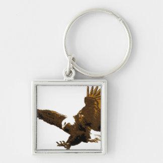 Aterrizaje Eagle Llavero Cuadrado Plateado