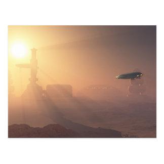 Aterrizaje polvoriento en la colonia de Marte Tarjetas Postales