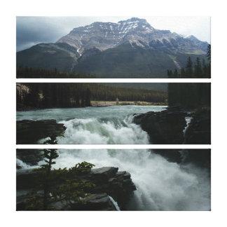 Athabasca Falls, Canadian Rockies, 3 stacked panel Canvas Print
