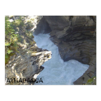 Athabasca falls ripping through the Canyon Post Card